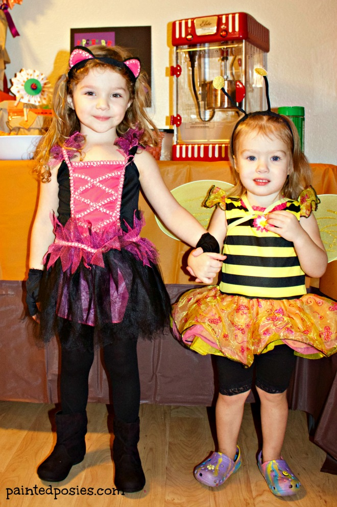 Kitty and Bumble Bee Kids Costumes Pumpkin Party 2014