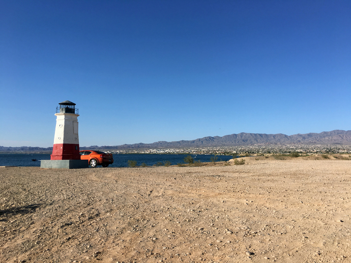 Lighthouse and Car Lake Havasu paintedposies.com